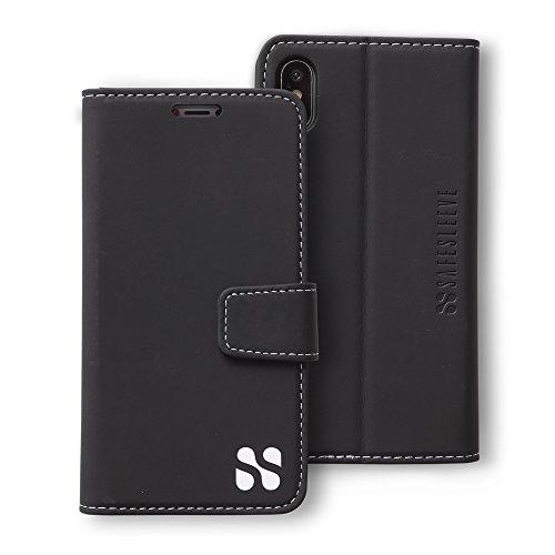 SafeSleeve EMF Protection Anti Radiation iPhone Case: iPhone X and iPhone Xs RFID EMF Blocking Wallet Cell Phone Case (Black)