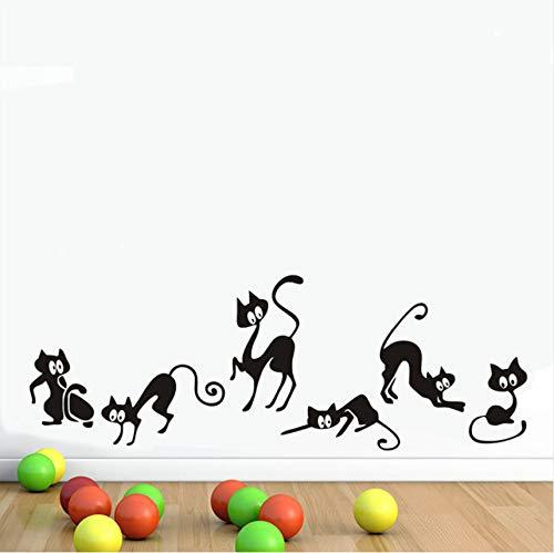 wuyyii 6 Unids/Set Abstracto Gracioso Gato Etiqueta De La Pared De Vinilo Removible Arte De Fondo Habitaciones De Los Niños Decoración para El Hogar Etiqueta De La Pared Mural