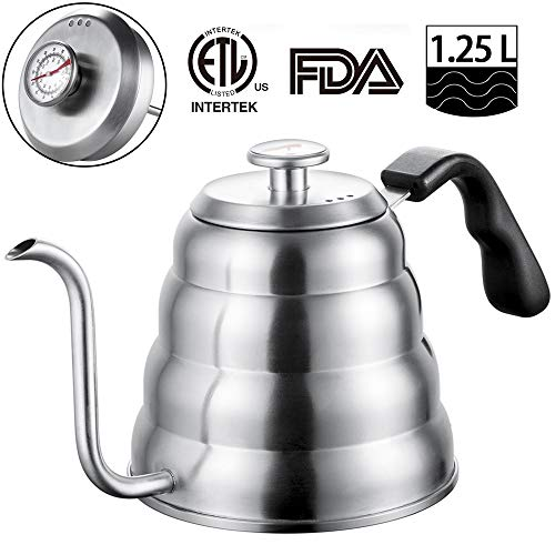 Stainless Steel Tea Coffee Kettle, with Thermometer for Exact Temperature, Gooseneck Thin Spout for Pour Over Coffee, Works on Induction Stovetop for Fast Water heating,40 oz 1.25L