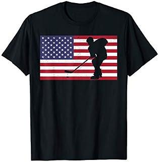 Birthday Gift Hockey Fight Hockey Lover  American Flag Hockey Player Short and Long Sleeve Shirt/Hoodie