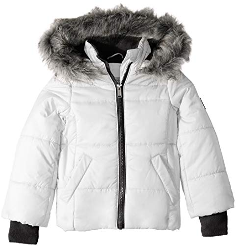 (Calvin Klein Little Girls' Glacial Puffer Jacket, White, 5)