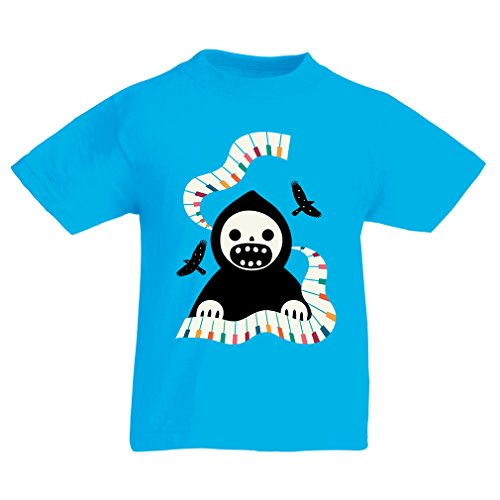 T Shirts for Kids Halloween Horror Nights - The Death is Playing on Piano - Cool Scarry Design (3-4 Years Light Blue Multi Color) ()
