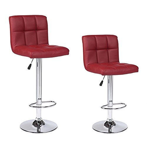 Mecor New Reinforced Design Leather Bar Stools Adjustable Swivel Hydraulic Square Dining Chairs with Chrome Base,Set of 2,Red Chrome Dining Room Bar Stool