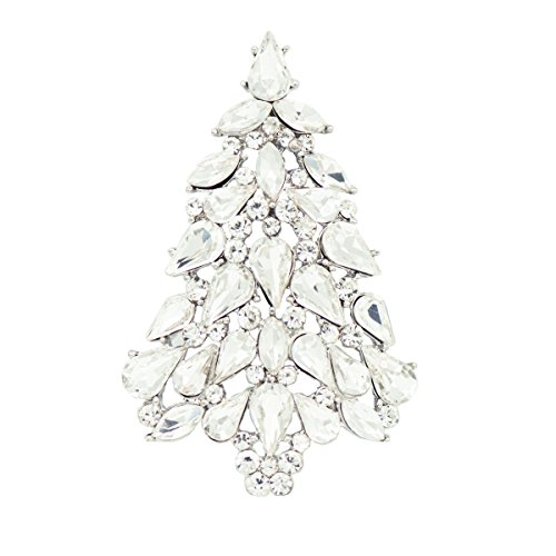 (SEPBRIDALS Clear Crystals Rhinestone Women Jewelry Christmas Tree Broaches Brooch Pin P5458 (White) )