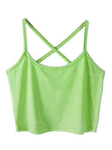 Ribbed Top Tank Lace (Micmall Cami Camisole Short Cross Spaghetti Strap Women's Tank Top Green)