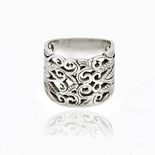 Chuvora 925 Sterling Silver Double Leaf Swirl Vine Wreath 15 mm Oxidized Filigree Band Ring, Size 8