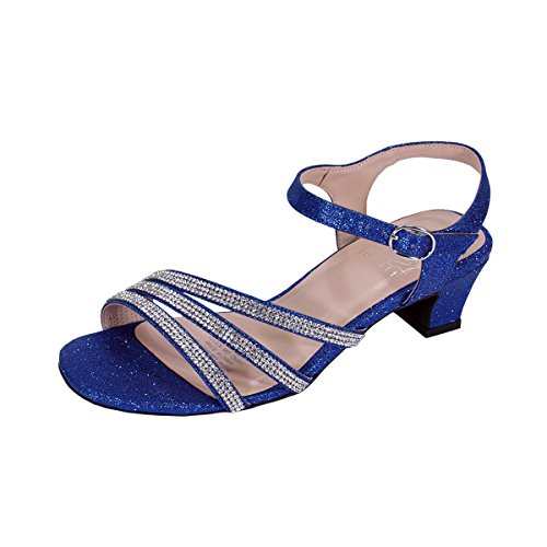 Floral Jenna Women Extra Wide Width Glittery Rhinestone Upper Straps Party Heeled Slingback Sandals Blue 9