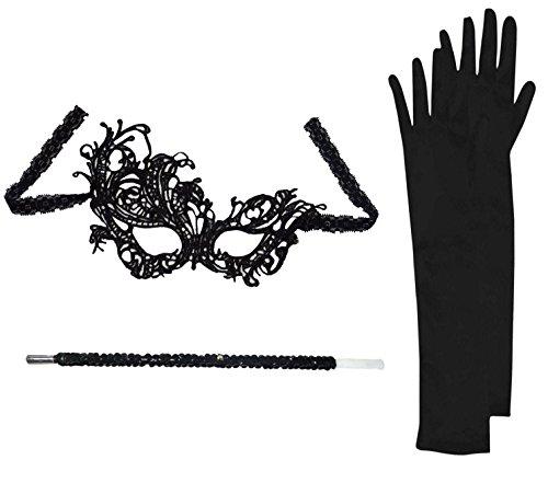 Flapper Set Mask + Black Gloves + Cigarette Holder Masquerade Fancy Dress (Flourish Masquerade Mask)