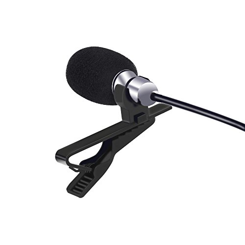 Rockrok Lavalier Lapel Microphone, 3.5mm Omnidirectional Condenser Mic with Clip On System for Smartphone, PC Video Conference, Podcast, Youtube, Interview, Studio, ()