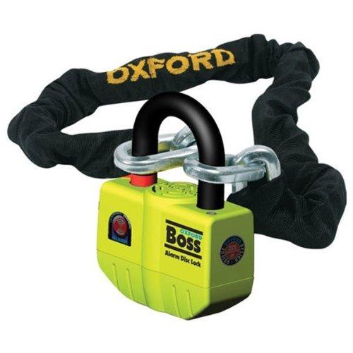 Oxford OF9 - Disco de Alarma Boss de 12 mm/2 m/6 Pulgadas, Cadena y candado súper Resistentes