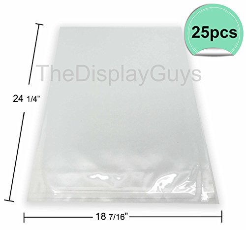 The Display Guys, 25 Pcs 18 7/16 x 24 1/4 Clear Self Adhesive Plastic Bags for 18 x 24 inches Picture, Poster, Photo Framing Mats