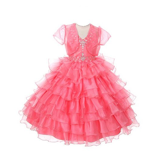 Rain Kids Girls 14 Coral Jeweled Halter Pageant Dress Sheer Jacket by The Rain Kids