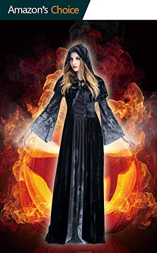 Women's and Halloween Ghost Witch Hooded Costume Cloak Dress Outfit Black for Party,Club,Rave,Masquerade Party,Halloween,and Cosplay Costume use ()