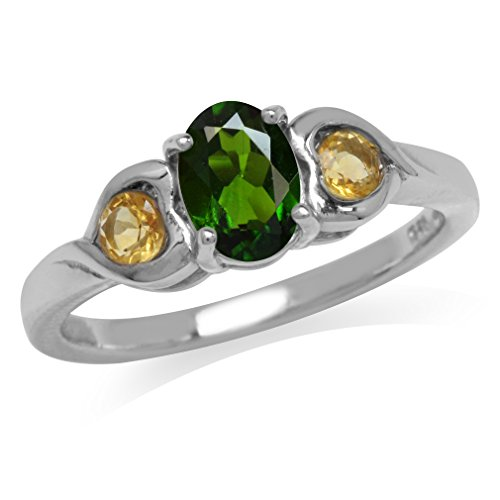 Green Chrome Diopside & Citrine White Gold Plated 925 Sterling Silver Engagement Heart Ring Size 7 (Diopside Green Ring)