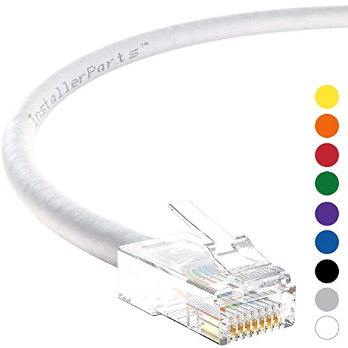 (InstallerParts Ethernet Cable CAT5E Cable UTP Non-Booted 25 FT - White - Professional Series - 1Gigabit/Sec Network/Internet Cable, 350MHZ)