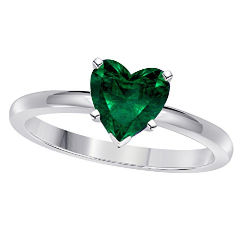 Valentine day Special 1.00CT Heart Shape Lab Created Green Emerald Solitaire Engagement Ring in 14K White Gold Finish ()