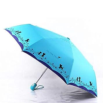 wddzhe Flores y Paraguas Gato Lluvia Mujeres a Prueba de Viento Ultralight Sun Rain Sombrillas Plegables