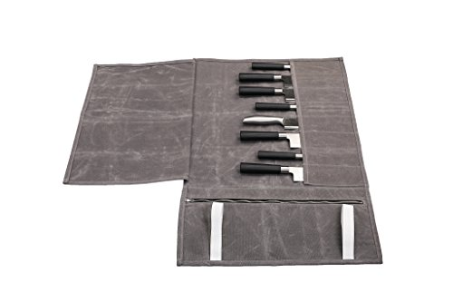 Hersent Waterproof Waxed Canvas Chef's Knife Roll Up Storage Bag with 8 Slots Portable Travel Chef Knife Case Carrier Stores Up 8 Knives Plus a Zipper Pocket for Kitchen Utensils HGJ17-C-US by Hersent (Image #5)