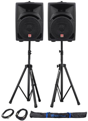 Pair Rockville Power Gig RPG8 8'' Powered Active 800 Watt 2-Way DJ PA Speakers by Rockville