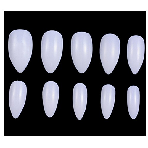 LALANG 100PCS Almond Oval Stiletto Pointy Artificial Full Cover False Hand Nails Tips Art (White) (Almond Pointy)