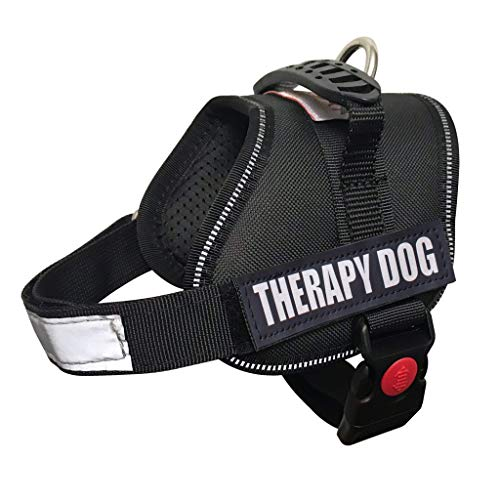 ALBCORP Reflective Therapy Dog Vest Harness, Woven Polyester & Nylon, Adjustable Service Animal Jacket, with 2 Hook and Loop Therapy Dog Removable Patches, XXS, Black