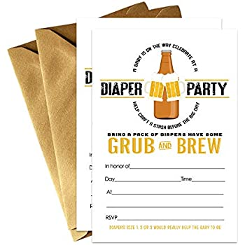 Amazon Com Beer And Diaper Baby Shower Invitation Barbeque