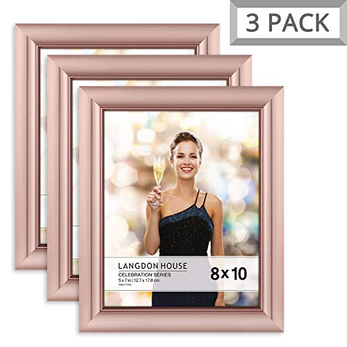 Langdons 8x10 Picture Frame (3 Pack, Rose Gold), Rose Gold Photo Frame 8 x 10, Wall Mount or Table Top, Set Of 3 Celebration -