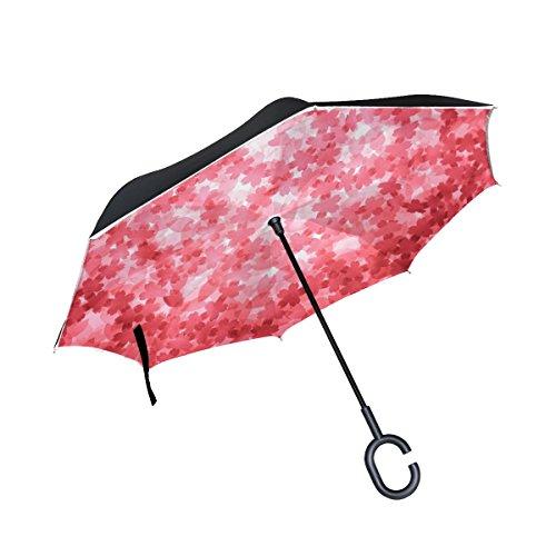 RH Studio Inverted Umbrella Applique Texture Red Background Large Double Layer Outdoor Rain Sun Car Reversible Umbrella