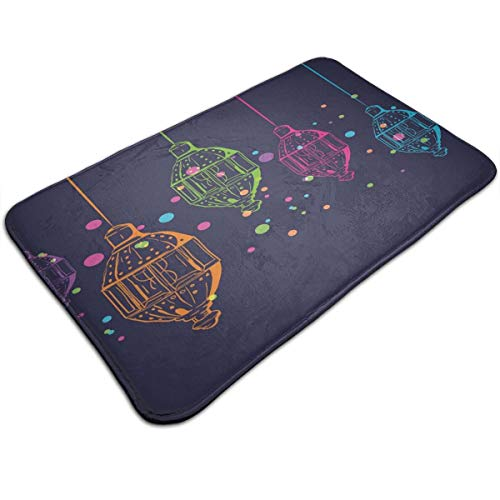 Memory Foam Bath Mat Non Slip Absorbent Super Extra Soft Cozy Bathroom Rug Carpet (20 X 32) Inch,Candles in Night Sketch in with Dots Arabian Motifs