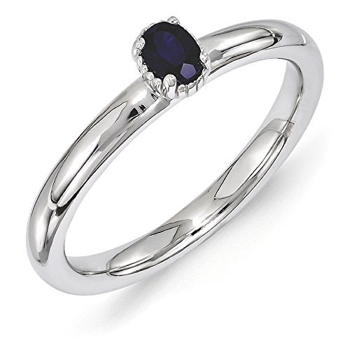 Sterling Silver Stackable Created Sapphire Oval Single Stone Ring Sz 5