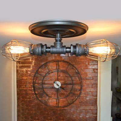NIUYAO Industrial Retro Semi-Flush Ceiling Light, Metal Water Pipe Style Wall Lamp Wall Lights Fixture in Black 2 Light