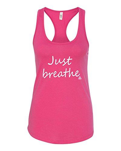Buff Buddha Women Tank Tops | Organic Cotton Yoga Tank | Just Breathe Tank Top and Yoga Tops (Medium, HOT Pink)