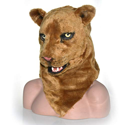 Beixi Lion Head Mask Halloween Fur Simba Headgear for Costume Brown Lion Mask Unique Product Brown Lioness Moving Mouth Mask Stupefying Brute Mask (Color : Brown, Size : 2525)