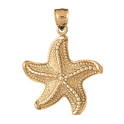 18K Yellow Gold 40mm Starfish Pendant