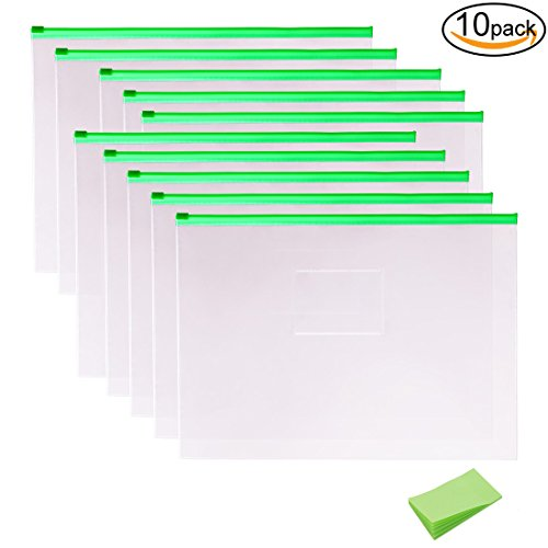 10 Pack Plastic Clear Poly Envelope Folders with Self-Stick Notes, A4 Size, Green Zipper by (Poly Zipper)
