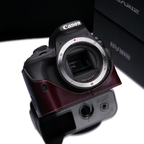 Gariz Genuine Leather XS-CH100DBR Camera Metal Half Case for Canon EOS 100D Rebel SL1, Brown