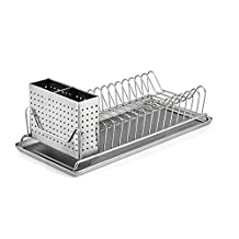 """Polder 6115-75 Compact Stainless-Steel Dish Rack with Utensil Holder, 14"""" x 6.5"""" x 5"""""""