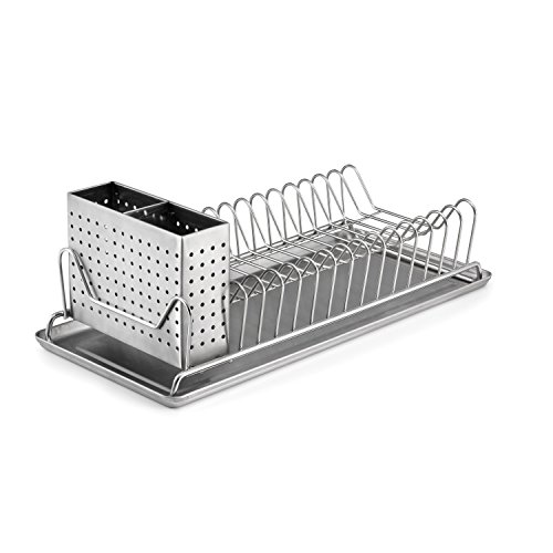 Stainless Steel Dish Strainer (Polder 6115-75 Compact Stainless-Steel Dish Rack with Utensil Holder, 14