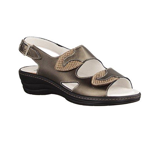 Slowlies 158 - Zapatos mujer Sandalia cómodo / relleno suelto, Marrón, cuero (napa)