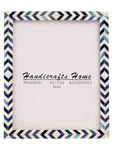 Handicrafts Home Blue White Chevron Picture Frames - Mosaic Moroccan Pattern Bone Inlay Handmade - Premium Quality Pine MDF Wood Back with 2mm Ultra Transparent Acrylic Plexiglass - Hang or Sit 8x10