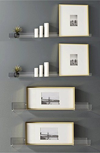 Clear Heavy Duty Floating Shelves - (4 Pack) 15 Inches Acrylic Bathroom Shelf Sets, Contemporary, Cosmetics Makeup or Spice Rack, Storage Shelves, Wall Decor Small Bookshelf Display, Shower Caddy