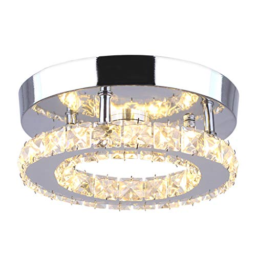 Dixun Modern Mini Led Chandelier Semi Flush Mount Crystal Lighting Ceiling Crystal Lamp for Bedrooms Dinning Rooms Hallway (Round Warm)