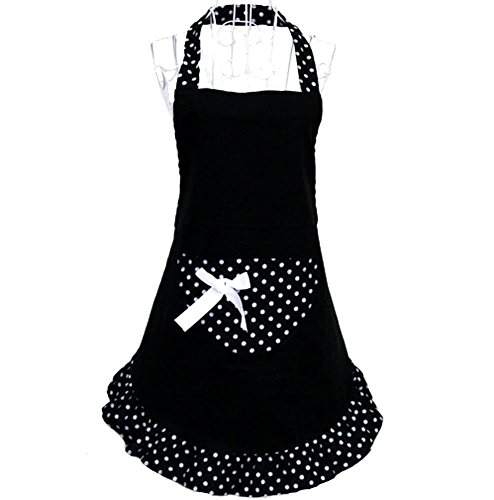 (HANERDUN Pastoral Style Ladies Apron Dress Girls Cute Polka Dot Apron With Pocket Fashion Vintage Kitchen Apron For Women Lovely Retro Cooking Apron For Housewife Gift Idea)
