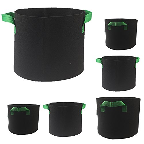 Casolly Grow Bag/Aeration Fabric Plant Pots with Green Handles for Plants,15-Gallon 6-Bag by Casolly (Image #2)
