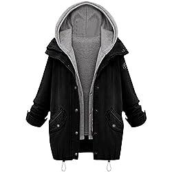 Milumia Women's Hooded Drawstring Boyfriend Trends Jean Swish Pockets Two Piece Coat Jacket Large Black