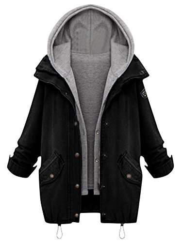 Milumia Women's Hooded Drawstring Boyfriend Trends Jean Swish Pockets Two Piece Coat Jacket Large Black