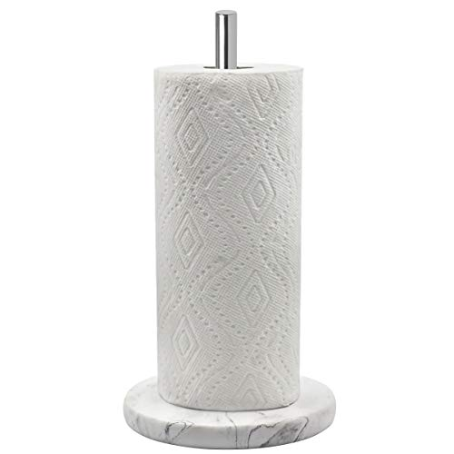 Modern Paper Towel Holder - Topsky Paper Towel Holder for Kitchen - Kitchen Paper Towel Dispenser with Weighted Base for Standard Paper Towel Rolls, Stainless Steel and Marble Effect