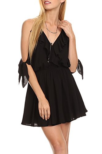 n - Black Dainty Damsel Open Shoulder Cami Strap Ruffle Camisole Strapped Ruffled Bow Ribbon Tie Short Romper Style Tassel Tied Back Elegant Cold Shoulder Dress Large ()