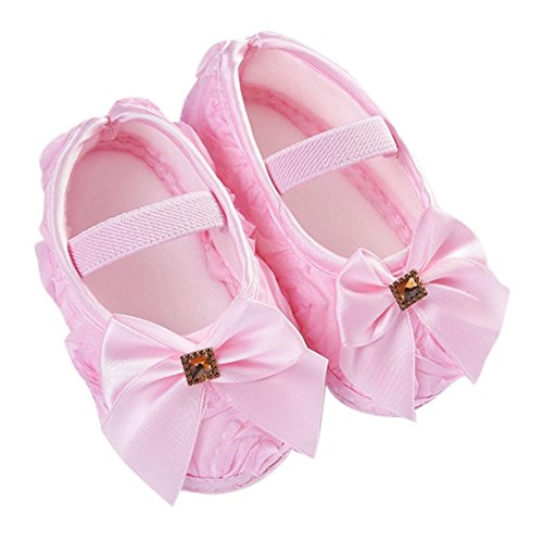Lanhui Toddler Kid Baby Girl Rose Bowknot Elastic Band Newborn Walking Shoes Leather Dance Single Casual Zise (Pink, 0-6Months)