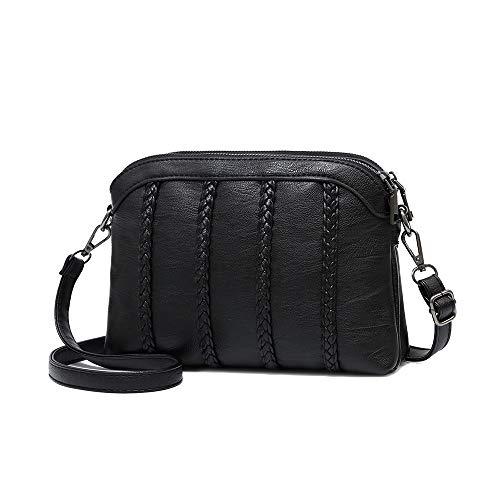 Crossbody Bag for Women Small Leather Phone Purse Wallet Shoulder Bag Trendy Ladies Wristlet Clutch(Black)